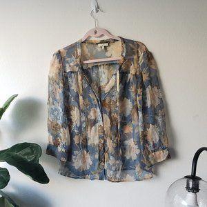 Joeie Floral 3/4 Sleeve Blouse - 100% Silk